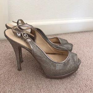 Guess gold platform heels